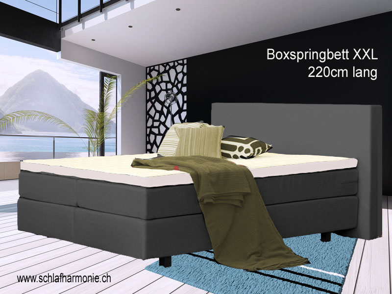 xxl boxspringbett ein bett in berl nge mit 220cm l nge der betten shop schweiz online. Black Bedroom Furniture Sets. Home Design Ideas