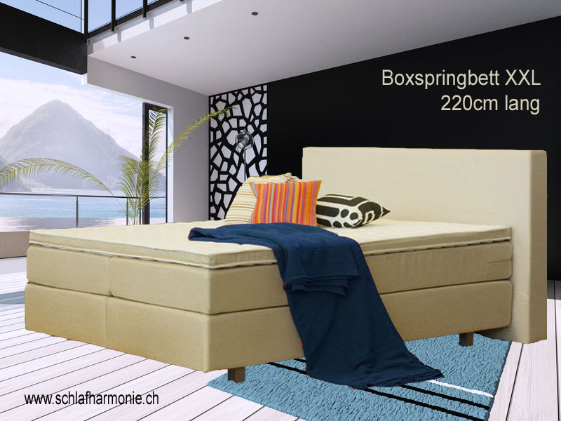 xxl lutz boxspringbett boxspringbett in textil anthrazit. Black Bedroom Furniture Sets. Home Design Ideas