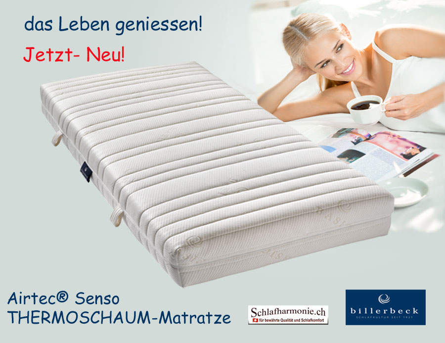 das leben geniessen airtec senso thermoschaum matratzen g nstige bettwaren. Black Bedroom Furniture Sets. Home Design Ideas